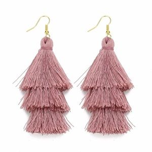 Jewelry - Boho 3 layer fringe earrings in dark pink NWT